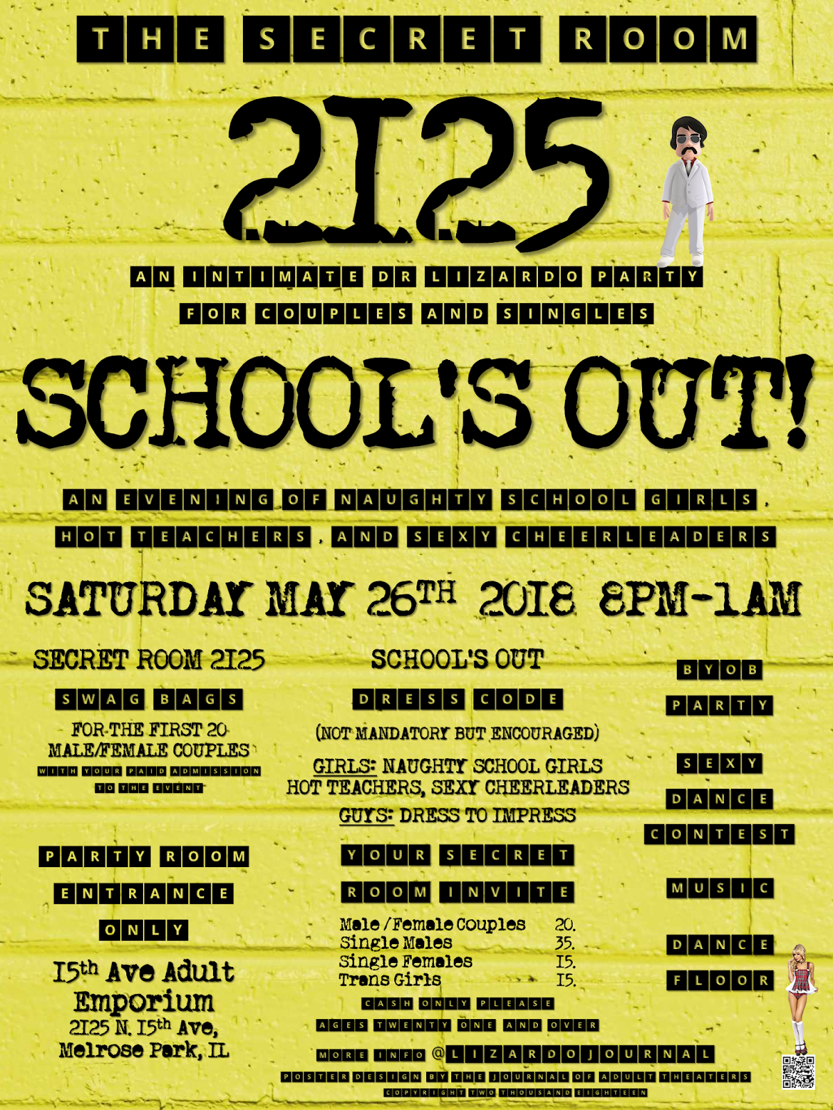 The Secret Room 2125: School's Out Party at 15th Ave. Adult Theater Party Room in Chicago!