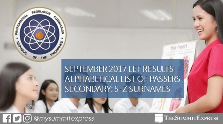 S-Z Passers LET Result September 2017 Secondary Level