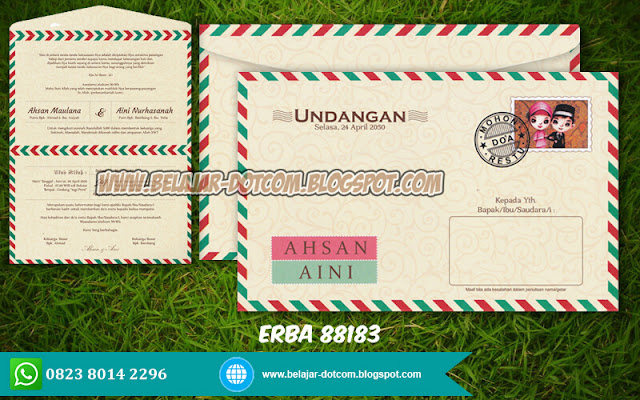 Contoh Undangan Pernikahan ERBA 88183 Model Amplop Siap Edit Format CorelDRAW