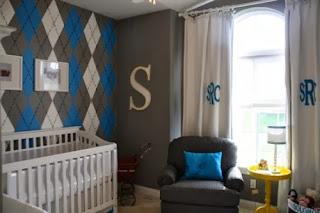 Habitación bebé azul gris