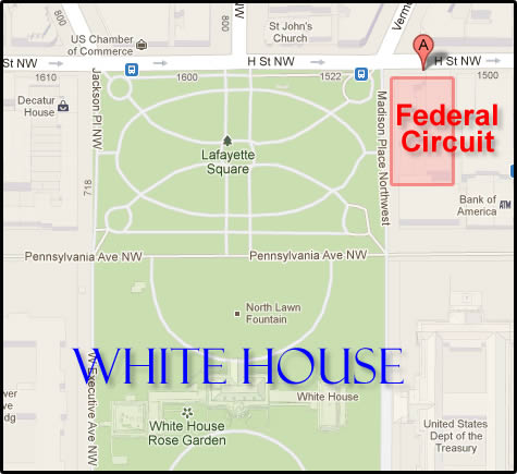 Juxtiposition of The White House and the Federal Circuit Court of Appeals