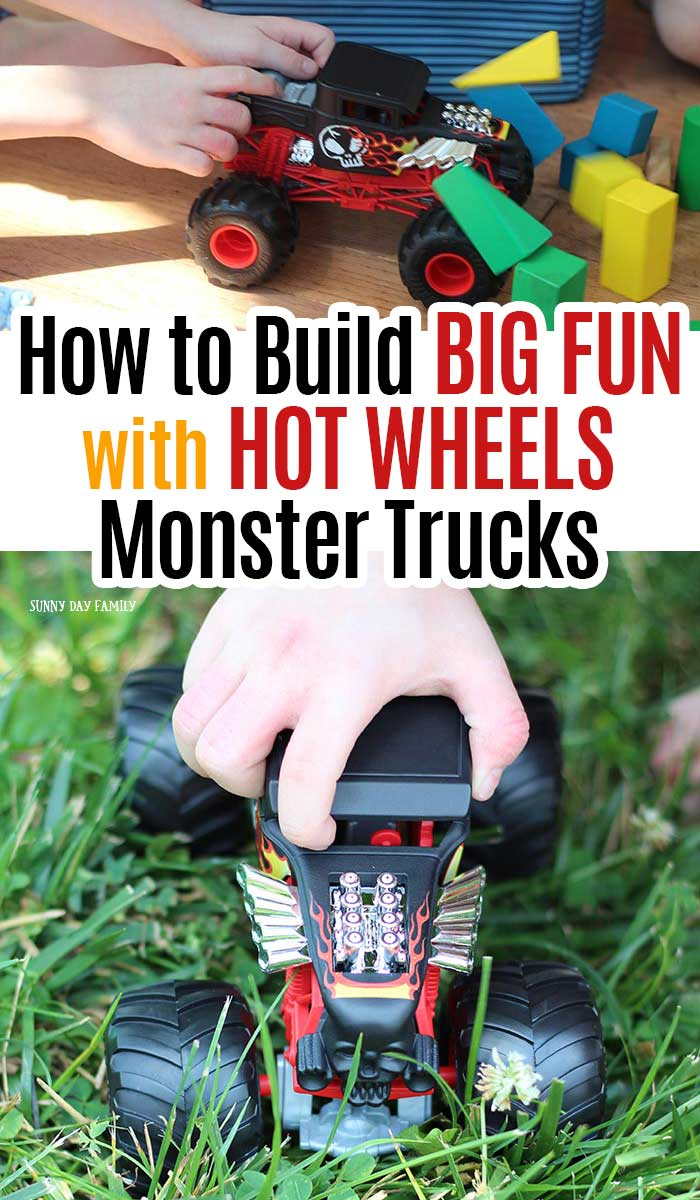 Truck loving kids will have a blast with these Hot Wheels Monster Truck toys! See how to make an indoor obstacle course for these rough and tumble toys and a backyard nature challenge. So much fun for kids who love trucks! #ad #monstertrucks #toys #forkids
