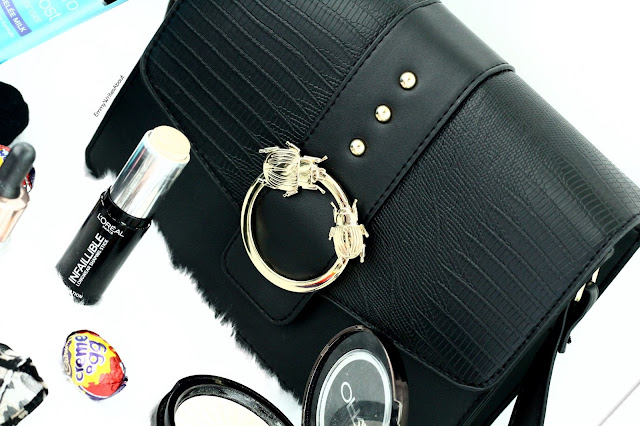 Black Bag with gold bug buckle