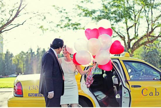 Heart shaped wedding balloons