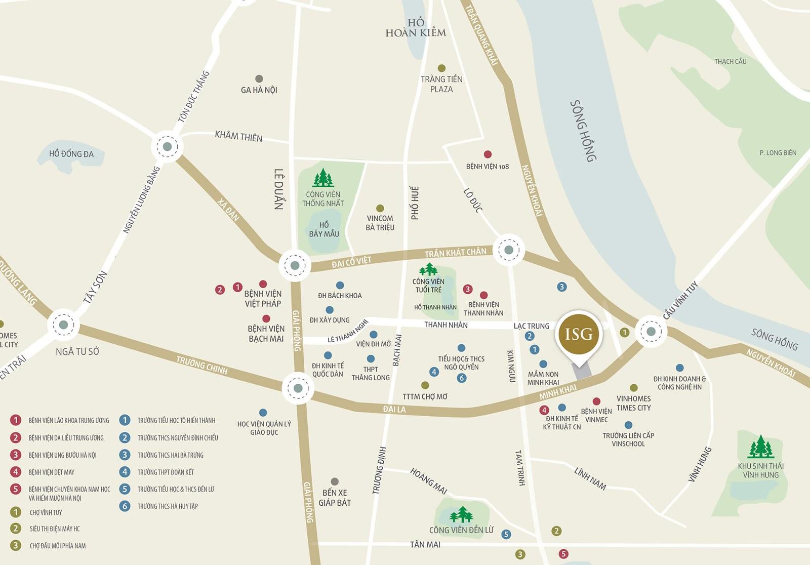 Vị trí dự án chung cư Imperia Sky Garden 423 Minh Khai
