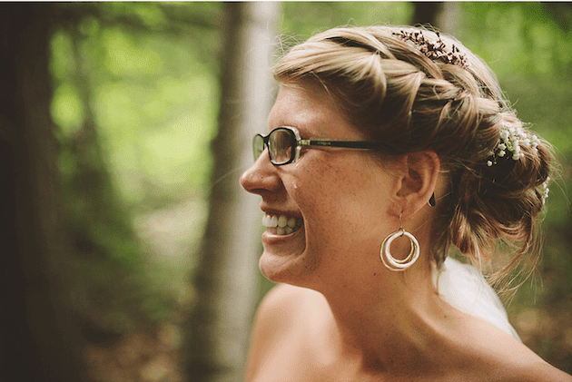 K'Mich Weddings - wedding planning - glasses - smiling bride wearing glasses on her wedding day