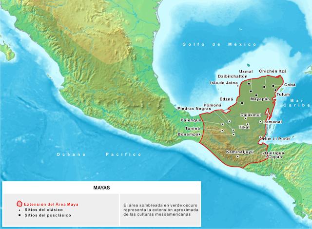 mapa da extensão do domínio maia