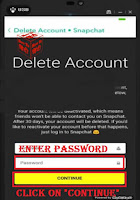 delete snapchat account on app