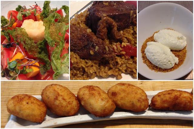 Ensalada, arroz con pitu de caleya, postre y croquetas en el restaurante El Tomate Bistró de Gijón