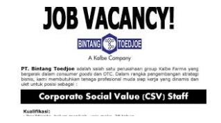 Jobs SMA / SMK baru di PT Bintang Toedjoe bulan Januari 2017