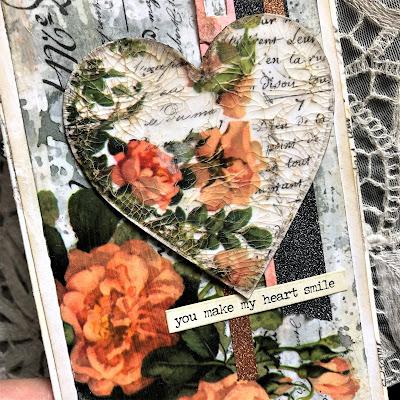 Sara Emily Barker https://sarascloset1.blogspot.com/2019/03/super-easy-tim-holtz-floral-collage.html Vintage Card Tutorial #timholtz #idealogycollagepaper #floral #ranger #distress 5