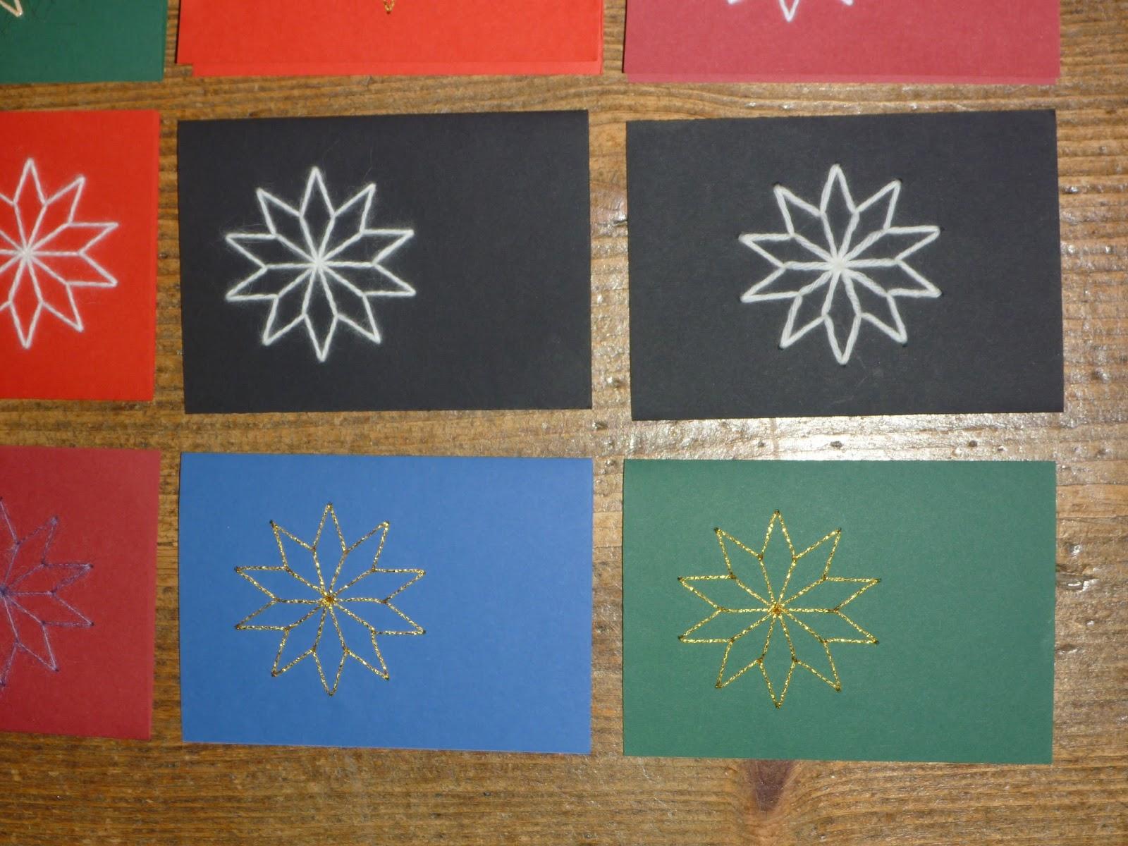 m rlimuus weihnachtskarten mit papier und faden. Black Bedroom Furniture Sets. Home Design Ideas
