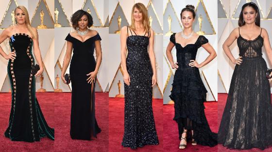 vestidos em preto do oscar 2017