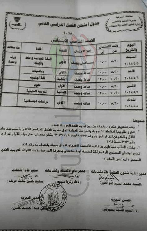 جدول امتحانات الصف الخامس الابتدائي الترم الثاني 2018 محافظة الشرقية