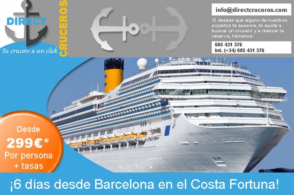 ► OFERTAS DE CRUCEROS - Costa Fortuna 26 y 31 de octubre de 2015