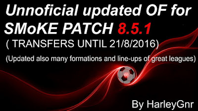 PES 2016 Unnoficial Updated OF for SMoKE Patch 8.5.1 by HarleyGnr (22/8)