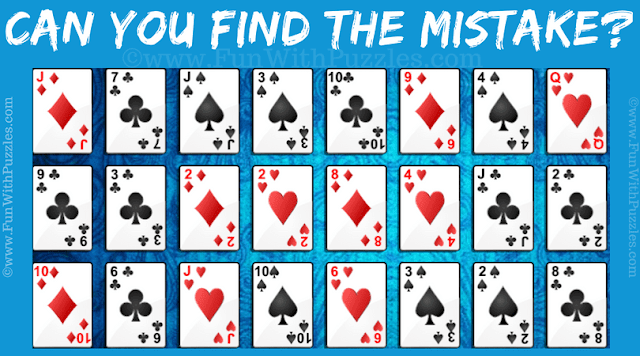 It the Mistake Picture Puzzle in which one has to find the mistake in the card game photo