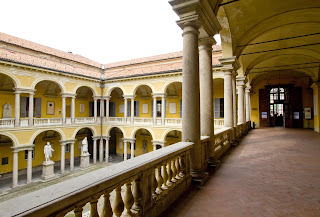 The Courtyard of the Statues inside the University of Pavia