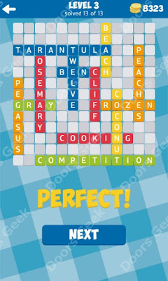 Cheats, Solutions for Level 3 in 13 Word Connect by Second Gear Games