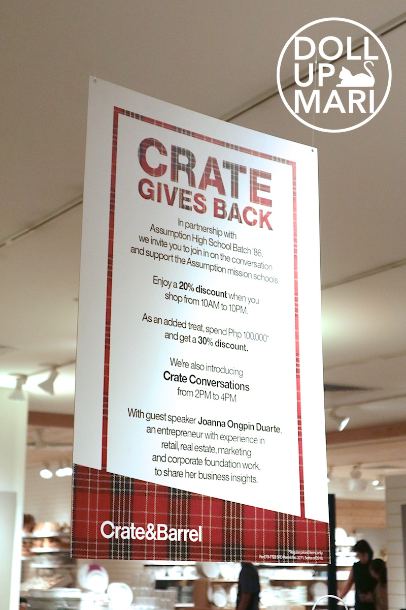 Hanging Poster of Crate Gives Back and Crate Conversations at Crate and Barrel