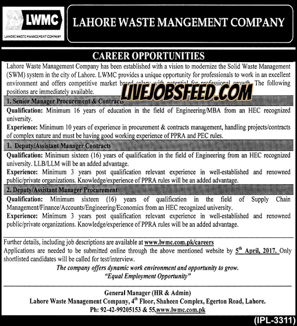 LWMC Jobs Lahore Waste Management Company Senior Management Procurement & Contracts, Deputy/Assistant Manager Contracts & Procurement Jobs 2017