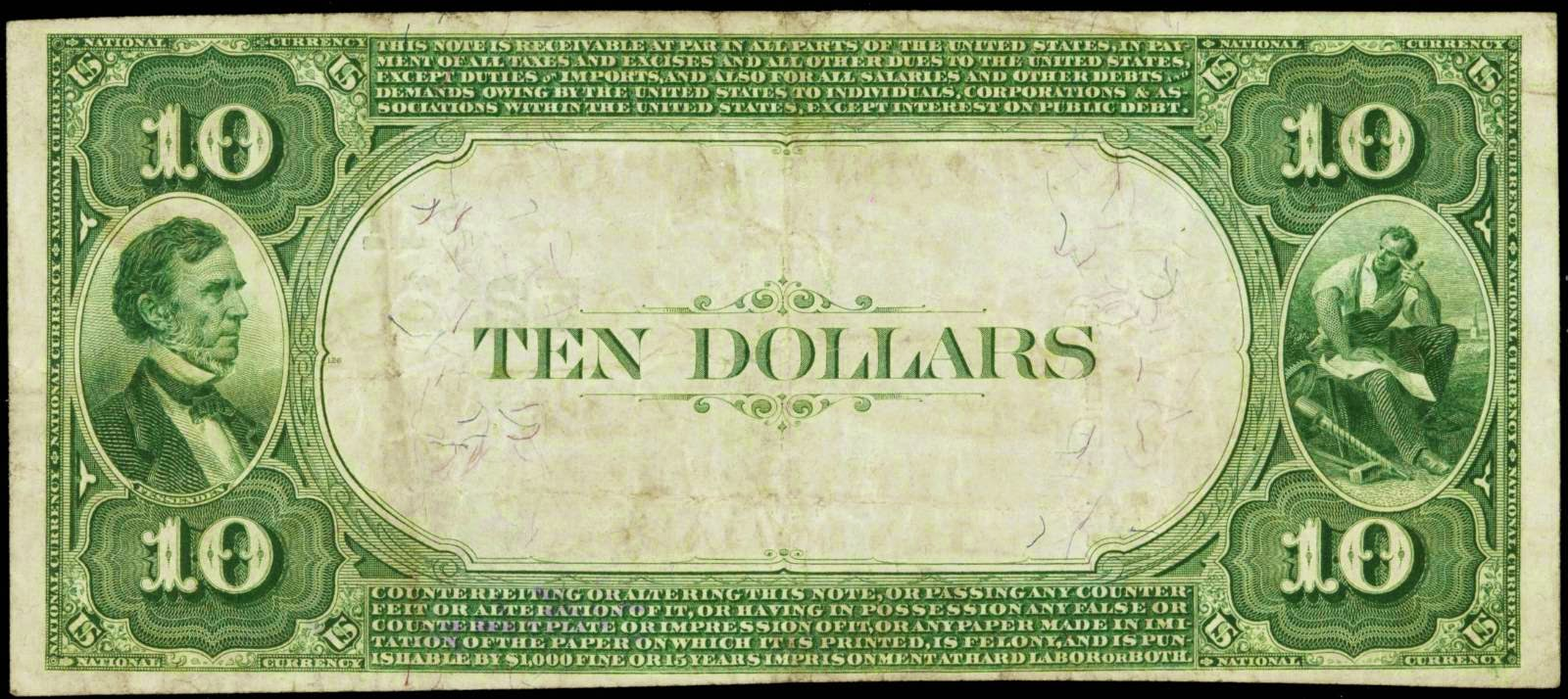 National Currency 1882 Ten Dollar bill Value Back