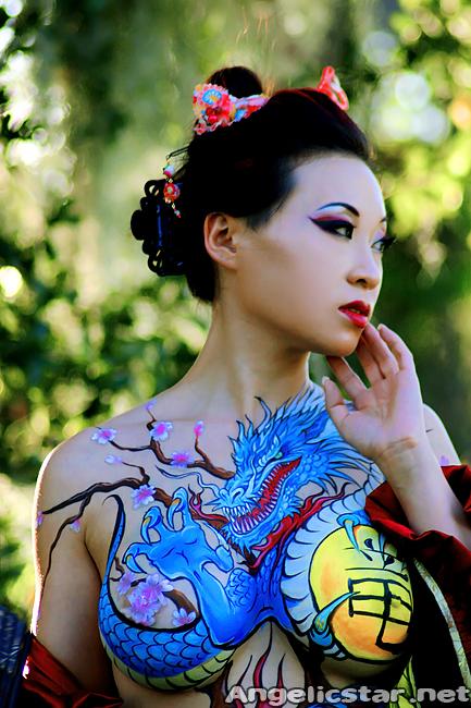 Yaya Han in Yakuza Bodypaint by Nick Wolfe (Photography by