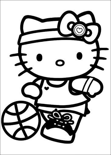 Tranh tô màu mèo hello kitty chơi bóng