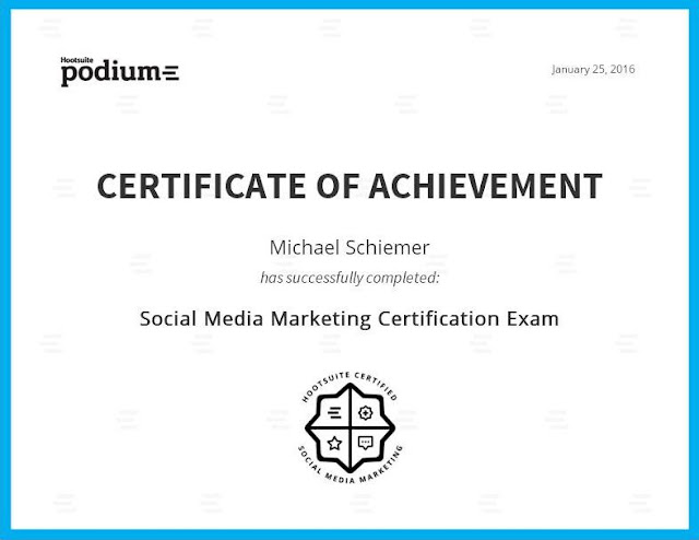 SEO HootSuite Social Media Marketing Certification Podium Mike Schiemer Certified SMM Boston Providence CMS CRM Expert Professional