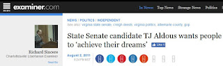 Examiner.com TJ Aldous Virginia state senate Creigh Deeds