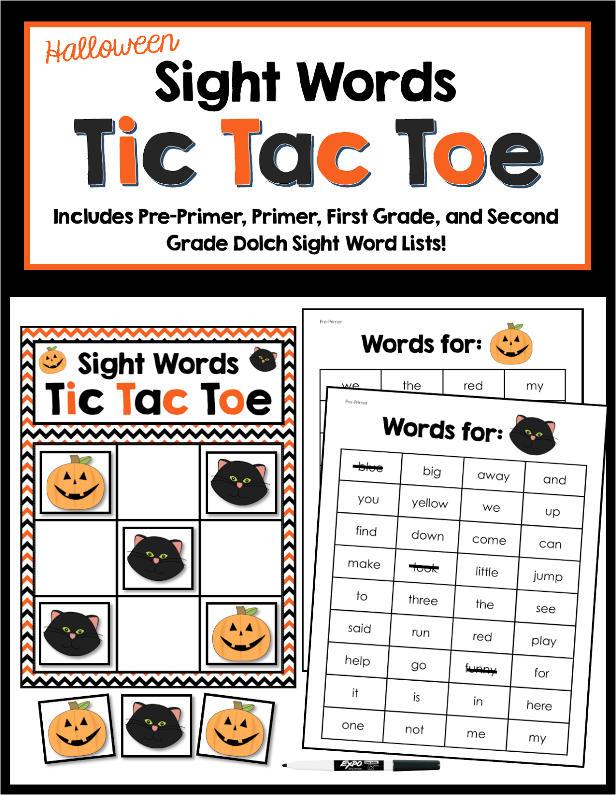 Halloween Halloween Sight Words Freebie And Games For Sight Words Cvc Words And Cvce Words