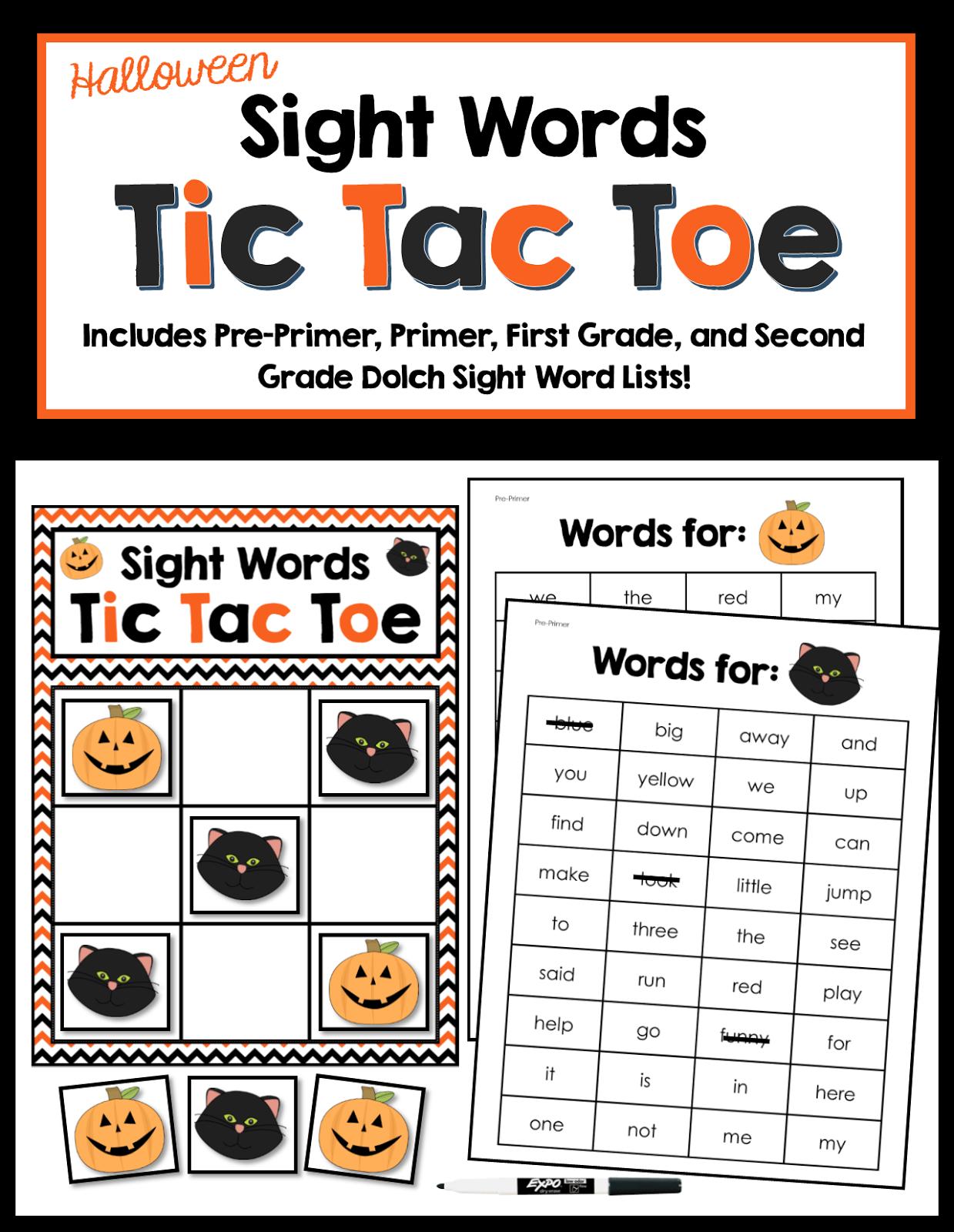 Halloween Halloween Sight Words Freebie And Games For Sight Words Cvc Words And Cvce Words