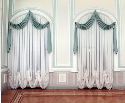 Classy white arch window curtain designs treatments