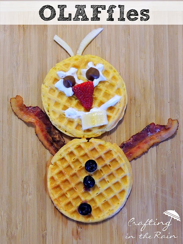 OLAFfles!  Straight from the movie Frozen, make Olaf waffles for a fun breakfast!  on www.craftingintherain.com