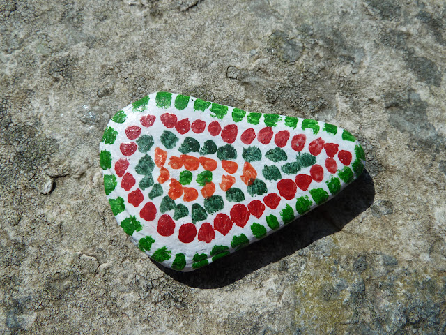 Aztec inspired pebble painting