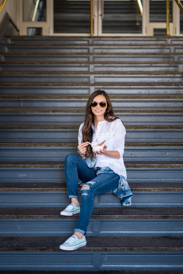 j.crew blouse, j.crew factory, american eagle distressed jeans, humphrey-slocombe ice cream, mint converse
