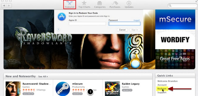Redeem the License code for mountain lion from App Store