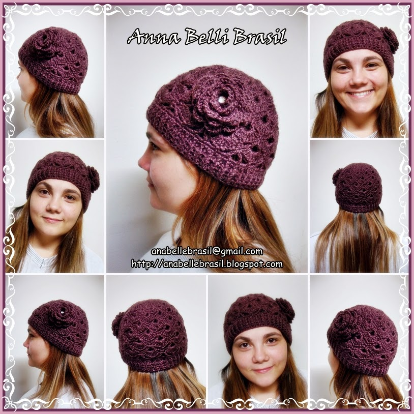 ec3fc53d2f289 Ana Belli Brasil  Touca de Crochê Flor para Adulto (Rosê Escuro)