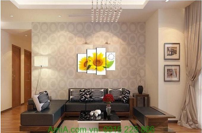 Hình ảnh Tranh đồng hồ khổ nhỏ hoa Hoa Hướng Dương treo phòng khách