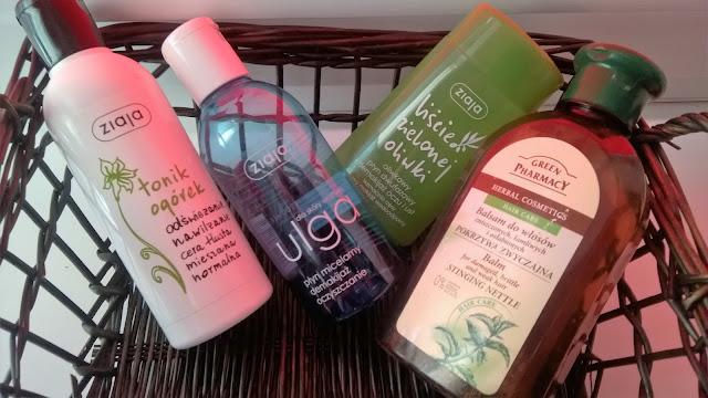 ZIAJA tonik ogórkowy, ZIAJA ULGA płyn micelarny, ZIAJA dwufazowy płyn do demakijażu Liście Zielonej Oliwki, Green Pharmacy balsam do włosów Pokrzywa Zwyczajna