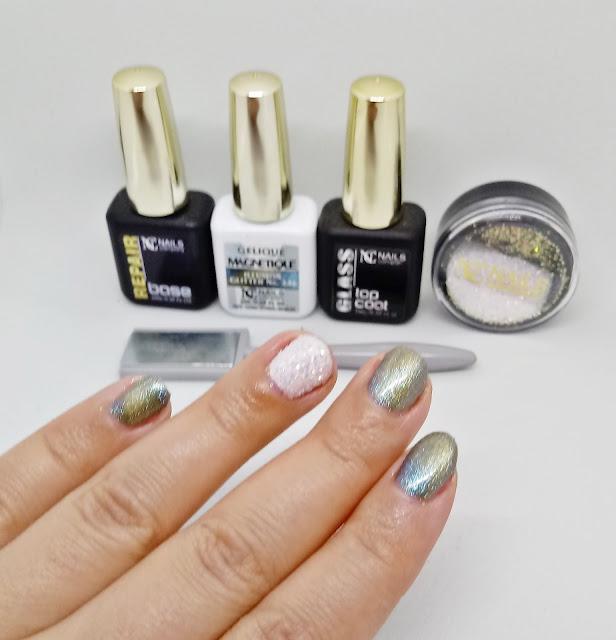 Efekt kociego oka + Crystal Flakes NC NAILS COMPANY