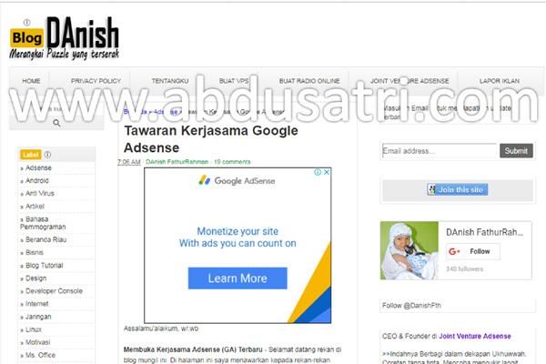 Bagaimana bila Blog anda belum juga diterima Google Adsense Belum diterima Google Adsense?, Joint Venture dengan Abdusatri.com Solusinya