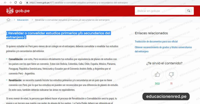 TRÁMITES MINEDU: Cómo Revalidar o Convalidar Estudios Primarios y/o Secundarios del Extranjero - www.minedu.gob.pe