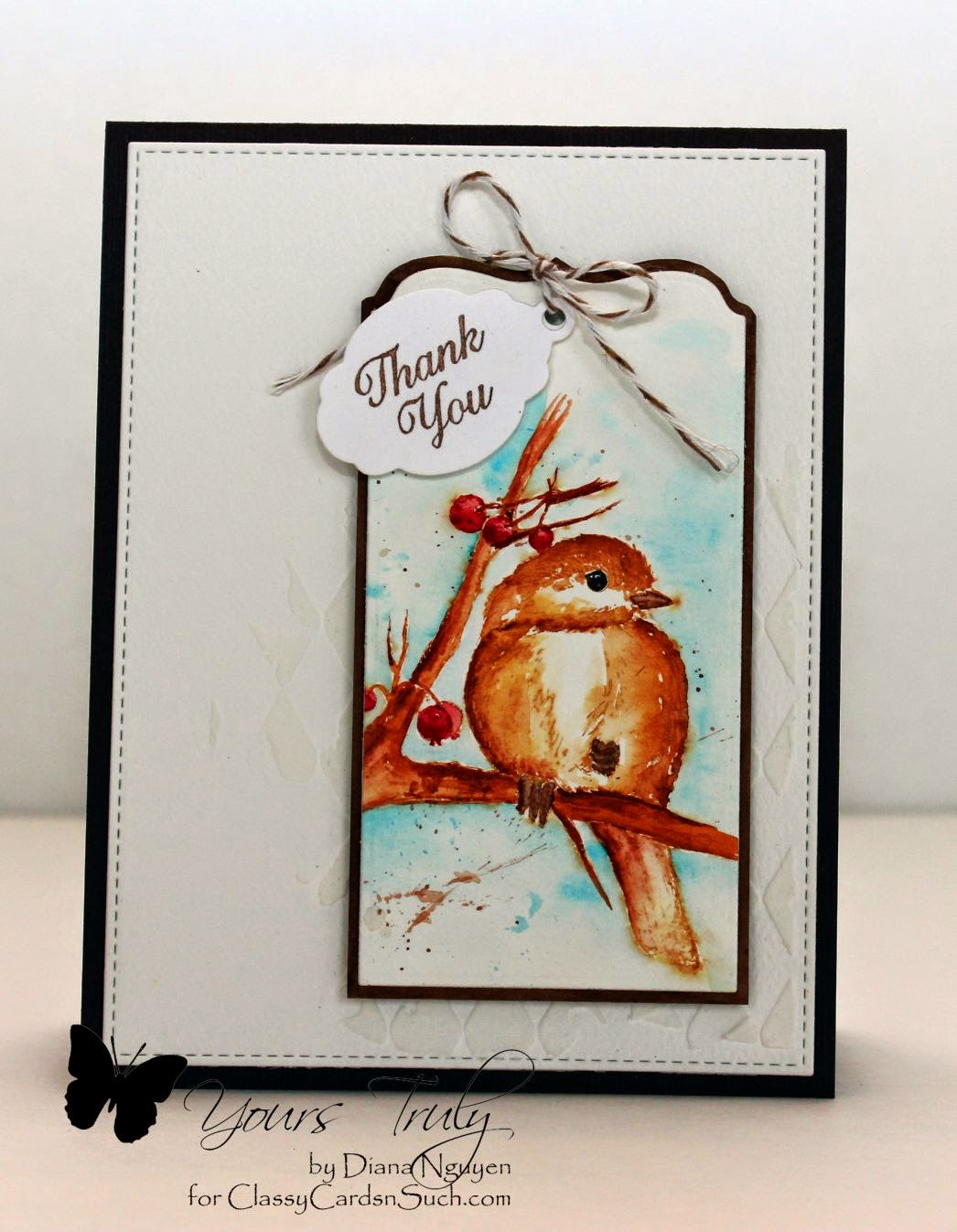 Diana Nguyen, stencil, Tim Holtz, Our Daily Bread Designs, Chickadee, Classy Cards n Such