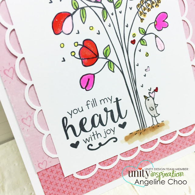 ScrappyScrappy: Unity DT Hop: Pink and Red Valentine Gelly Roll flowers #scrappyscrappy #unitystampco #valentine #card #gellyroll #flowers #cardmaking #papercraft #cratepaper