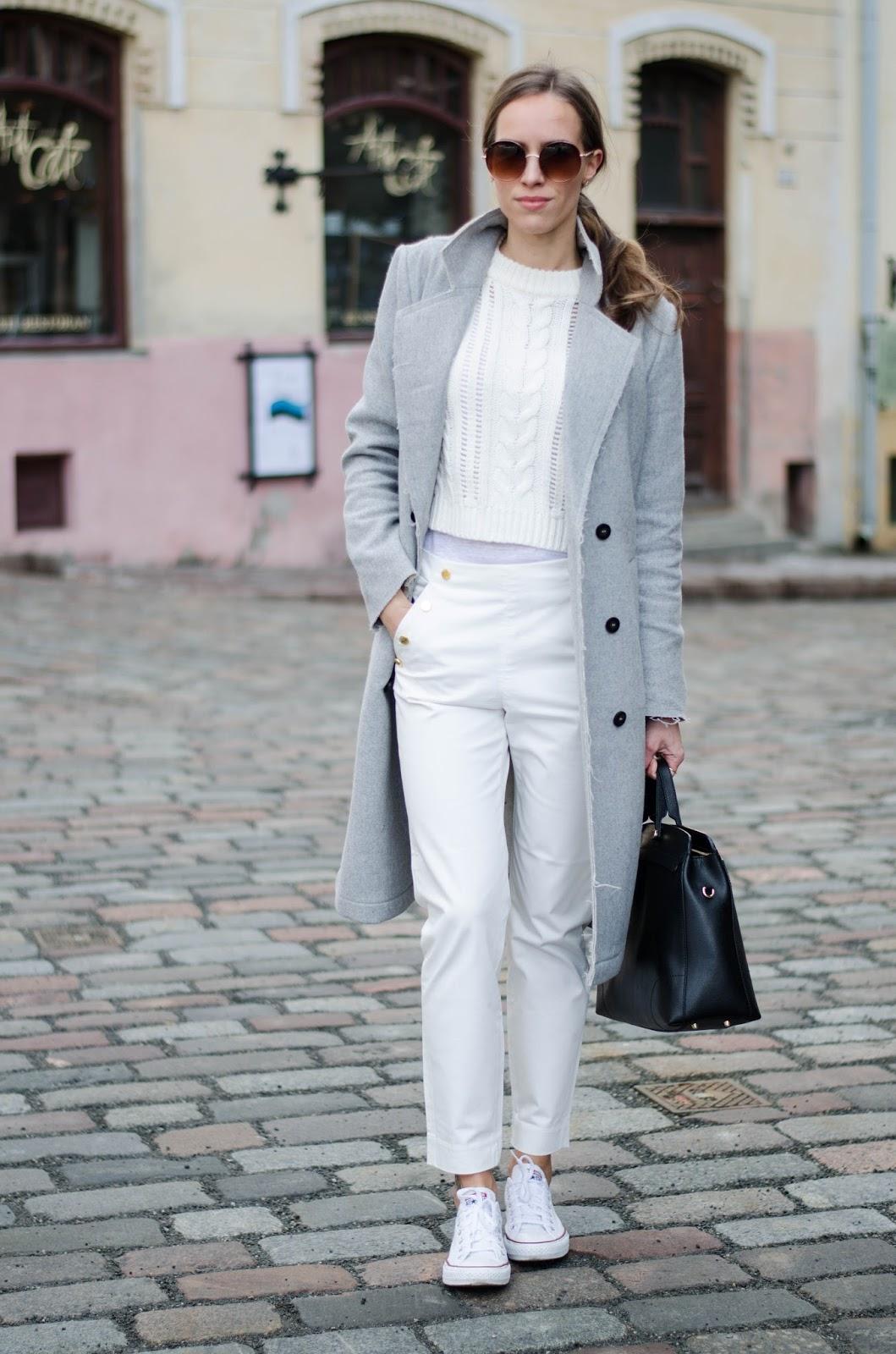 kristjaana mere minimalist casual winter white outfit wool coat white pants sweater sneakers