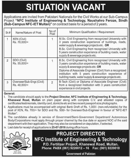 Job Vacancies in NFC Institute of Engineering and Technology 21 December 2018