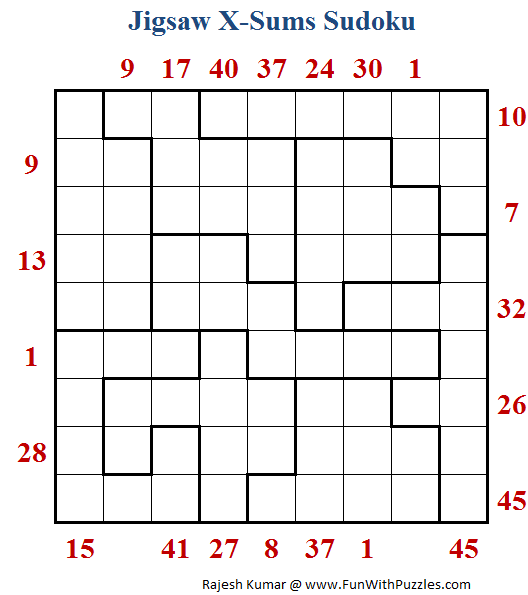 Jigsaw X-Sums Sudoku (Daily Sudoku League #184)