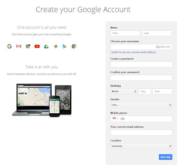 mendaftar akun google mail