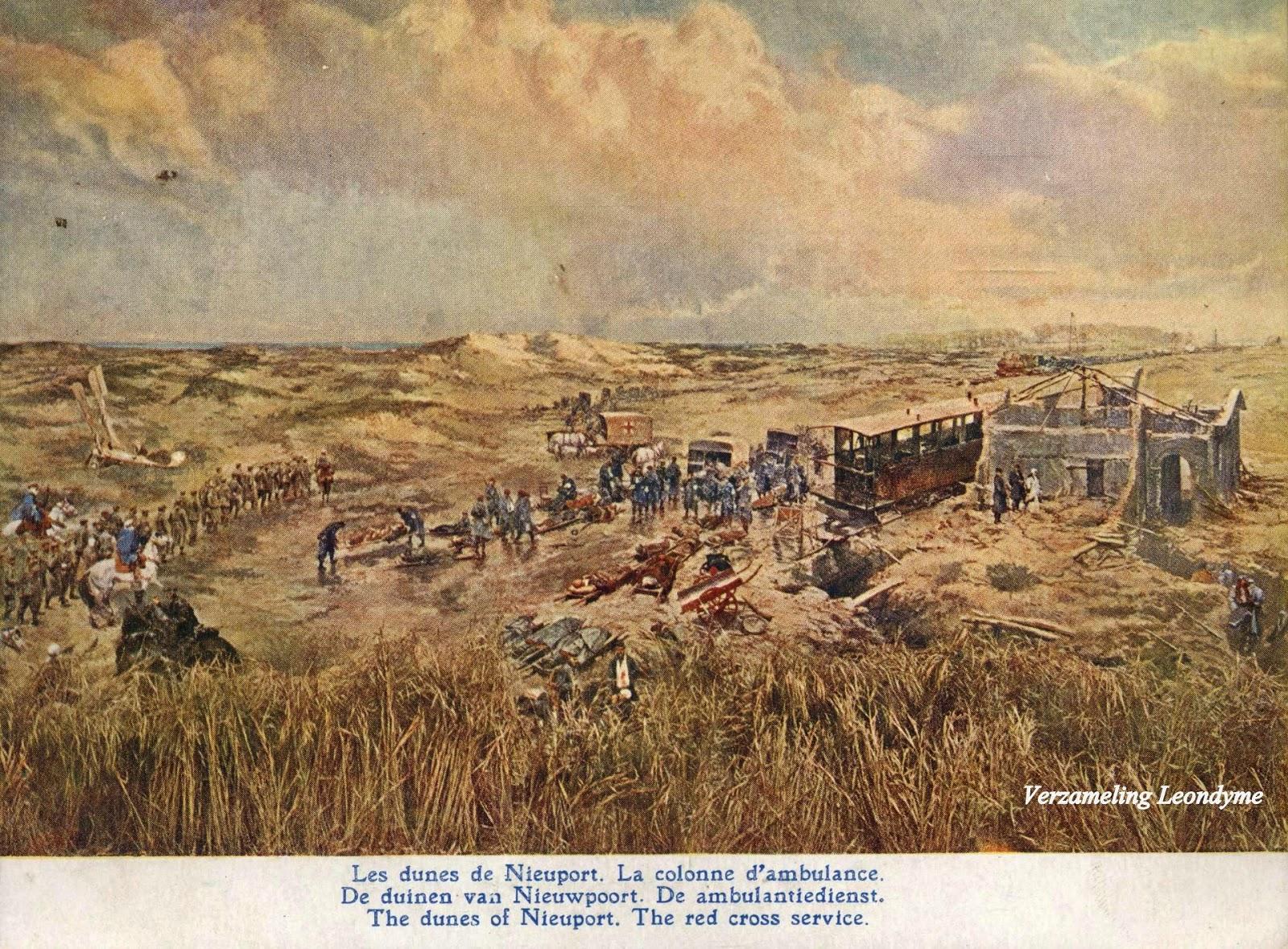 Slag aan de  IJzer door Alfred Bastien.  De Nieuwpoortse duinen met ambulancedienst. Verzameling Leondyme